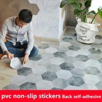 10pcs PVC impermeável Pavimento Etiqueta Peel vara autoadesivo Ladrilhos Cozinha Sala Decor deslizamento Decal Non