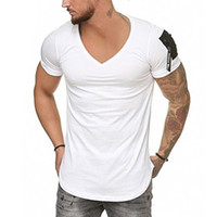 Camicia slim fit T V collare uomo fitness Bodybulding magliette hip hop High Street Estate manica corta chiusura lampo del manicotto T-Shirts Top