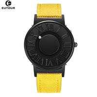Eutour Assista Homem Pulseira De Couro Da Lona Mens Relógios Bola Magnética Mostrar Relógios De Quartzo Moda Masculina Relógio de Pulso J190715