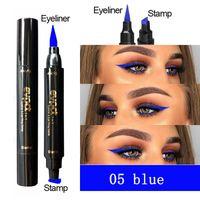 Nouveau Evpct Double-Headed Sceau Noir Bleu Eyeliner Triangle Eyeliner Seal 2-1 eyeliner waterproof Stamp Modelage Maquillage