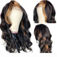 Highlight Color Full Lace Human Hair Wigs With Baby Hair Bra...