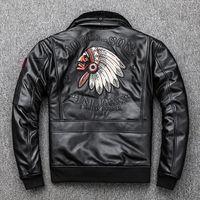 블랙 인디언 아바타 자수 G1 비행 폭격기 재킷 양 가죽 모피 칼라와 가죽 자켓 오토바이 가죽 자켓