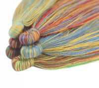10pc / lot 7CM fatti a mano corda di cotone tessuto colorato nappa picco appeso per le orecchie, accessori braccialetto fai da te strumento di risultati dei monili componenti D047