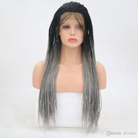 Braided Synthetic Wigs Ombre Grey Black Root Heat Resistant ...
