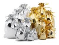 Nueva 4sizes Bolsos de la joyería joyería de moda plata del oro plateado satinado gasa de Navidad Bolsas del regalo Bolsa 5x7cm 7x9cm 9x12cm 13x18cm libre de DHL