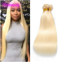 Peruvian Human Hair 3 Bundles Straight Virgin Hair 613# Blon...