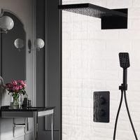 새로운 벽 마운트 블랙 브래스 경감 님이 욕실 온도 조절 샤워 꼭지 세트 폭포 강우량 샤워 헤드 목욕 수도꼭지