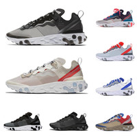 React Element 87 55 Chaussures de course pour hommes Femmes Anthracite Light Bone Triple Noir Blanc RED ORBIT Mode Hommes Formateurs Baskets de Sport