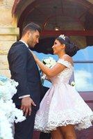 Parti Elbiseler Mezuniyet 2021 V Boyun Kapalı Omuz Fermuar Geri Kısa Bir Çizgi Romantik Gelin Gelinlikler Homecoming