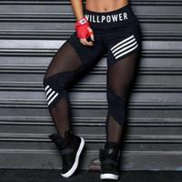 Moda Kadınlar Tozluklar Yüksek Bel Mesh Pactwork Sports tozluk Siyah Gym Fitness Harf Sportwear Femme yazdır