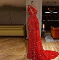 مثير shinning الأحمر غمد حفلة موسيقية فساتين طويلة الترتر واحد الكتف الطابق طول فساتين مساء ارتداء قطار الاجتياح اللباس الرسمي ogstuff