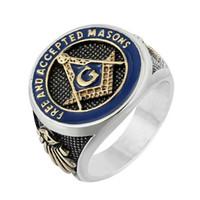 Masonic anello in acciaio inox europei e americani gioielli di moda, retro punk, GA oro misura dell'anello 6,5-14,5