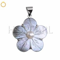 Carved Flower Pendant Charms Natural Black Shell with White ...