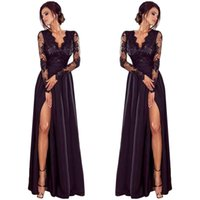 Lady Deep Lace Evening Party Ball Prom Wedding Long Dress Le...