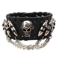 Herren Punk Schwarz Leder Armband Vintage Harley Motorrad Schädel Skelett Kugel Charme Biker Armbänder Armreif Für Mann Modeschmuck 6009