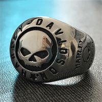 5pcs / lot Formato 7-13 motociclista più nuovo stile di disegno dei monili dell'anello del cranio dell'acciaio inossidabile 316L moda maschile ragazzi Moto anello del cranio