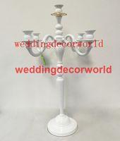 새로운 스타일 테이블 상단 흰색 페인트 꽃꽂이 크리스탈 캔들 홀더 테이블 센터 decor000102에 대 한 5 팔 candelabra 결혼식 centerpieces