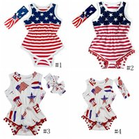 USA-Flagge-Jumpsuit Baby Tassel Ärmel Body-amerikanische Flagge Drucke Strampler Newborn Kinder USA-Overall mit Stirnband GGA3364-3