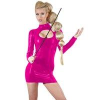Artı Boyut Bayanlar Seksi Parlak Clubwear Sahte Deri Uzun Kollu Elbise Anahtar Deliği BODYCON Mini Elbise Yenilikçi Öğretmen Cosplay Kostüm
