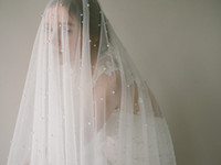 Pearls Cathedral Bridal Long Veil with Comb 3 M Soft Tulle V...