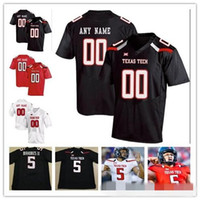 Personalizado Texas Tech TTU 2019 College Football Qualquer Nome Número Black Red White 10 Alan Bowman Mahomes Mayfield Welker Homens Juventude Kid Jersey
