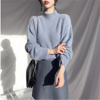 Real Photo Plush Oversized Pullover Turtleneck Women Sweater White Blue Knit Solid Sweaters Tops for Womens 2019 Winter Jumper