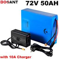 5000W 7000W 72V 50AH 전기 자전거 배터리 원래 SANYO 18650 셀 72V 충전식 스쿠터 리튬 배터리 + 10A 충전기