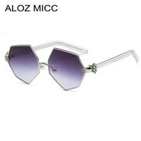 Aloz micc gradiente de moda heptágono óculos de sol das mulheres dos homens palm perna pérola nariz design pad óculos de sol feminino óculos uv400 a044