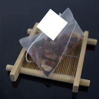 100pcs التي / الكثير أكياس الشاي النايلون الهرم فلاتر شفافة فارغة كيس شاي 5.5 7CM *