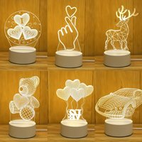 2 PCS 3 Color 3D LED Lamp Creative 3D LED Night Lights Novel...