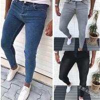 Homme solide Couleur Loisirs Jeans Skinny Pantalons pieds bandés Denim Slim Fit Pantalon Hommes Casual Slim Fashion Accrocheur Elasticité Jogger