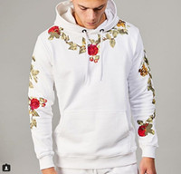 Mens Hoodie Fashion Style Male Floral Embroidery Hoodies Lon...