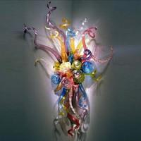 100% boca lâmpada soprada led lâmpadas lâmpadas de vidro design arte flor sconces