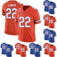 فلوريدا غتورس # C.J. Worton ايدي بينيرو إميت سميث كلية لكرة القدم مخيط الفانيلة الزرقاء البرتقالية