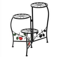 Grosso Frete grátis Flower Pot Metal Plant stand rack pintado pintura Lâmina Forma 3 suporte Bloco Planta