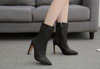 Hot Heels Venda-nova praça alta Silk Ankle Sock Botas Mulheres Sapatinho fêmeas dedo do pé Pointed Moda Zipper Ladies Shoes Primavera / Outono