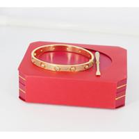 Titanio de acero Hombres y mujeres Love pulseras de tornillo con brazalete completo de oro rosa CZ con plata y destornillador Pulsera para amantes Joyería