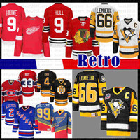 Mens CCM 9 Mens Bobby Hull Chicago Mario Lemieux 66 피츠버그 펭귄 하키 유니폼 BlackHawks Gordie Howe Detroit Red Wings Jerseys