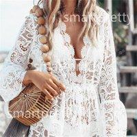 Yaz Kadın Bikini Mayo Kapak Up Çiçek Dantel Hollow Tığ Mayo Bikini Genel Banyo Suit Beachwear Tunik Plaj Elbise LY314 Kapaklar
