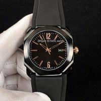 Barato Nuevo Octo PVD Caja de acero negro 102581 BGO41BBSVD Oro Negro Dial Automático Reloj para hombre Correa de caucho Relojes de alta calidad Hello_watch