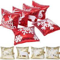 Doble lentejuelas Funda de almohada de Navidad Cubierta de nieve Copo de nieve Reno Funda de almohada Home Sofa Cojín Cojín Cubierta de Navidad Decoración de Navidad sin Core XD21529