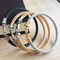 Venda quente ferradura ferradura pulseira de manguito 316L cor metal aço inoxidável fio gordo pulseiras para mulheres amor bangle fio gótico u d link