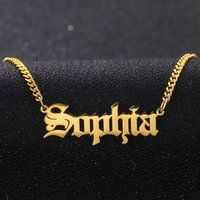 Personalized Custom Gold Color Stainless Steel Name Necklace Pendant Nameplate Necklace With 3mm Cuban Chain