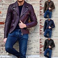 معطف رقبة لعوب ذو أكمام طويلة من ملابس الرجال الصلبة الربيعية سحاب سترة جلد خريفية
