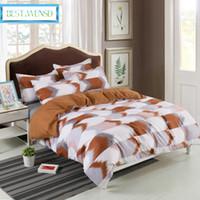 BEST.WENSD calidad 3D del lecho geométrica Rejas fijados ropa de cama de impresión Funda nórdica con cama funda de almohada de color liso 2/3 piezas