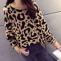 женщина леопард вязаного свитер зимой толстый длинный рукав джемпер 2019 женщин-осень мода случайного Tops вязания свитер даст