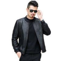 Chaqueta de cuero para hombre Slim Fit Hombre de negocios Casual Otoño Stand Collar Bomber Jacket Ropa de abrigo Abrigo Talla M-3XL