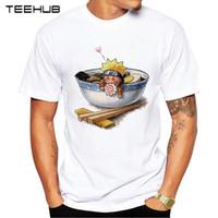 Naruto Liebe Ramen Druck T-Shirt Art und Weise kühler O-Ansatz T Shirt Kurzarm Casual Men Kleidung Funny Tee