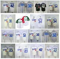 빈티지 유니폼 42 Jackie Robinson 4 Babe Herman 23 Kirk Gibson 32 Sandy Koufax 34 Fernando Valenzuela 30 Maurys Retro Baseball Jersey