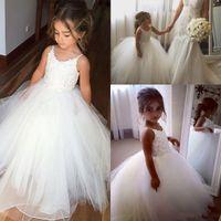 Nuevo Barato Puffy Flor vestidos de flores para bodas Correas de espagueti Apliques de encaje Tulle espalda abierta Largo cumpleaños Niños Niñas Vestidos de desfile
